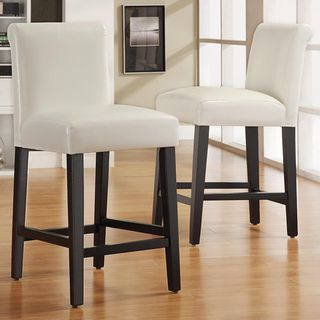 @Overstock.com - Bennett White Faux Leather 24-inch Bar Stools (Set of 2) - These Bennett bar stools feature white faux leather seats and a black wood finish. These stools are elegant and modern, perfect for any decor.  http://www.overstock.com/Home-Garden/Bennett-White-Faux-Leather-24-inch-Bar-Stools-Set-of-2/5163069/product.html?CID=214117 $155.99