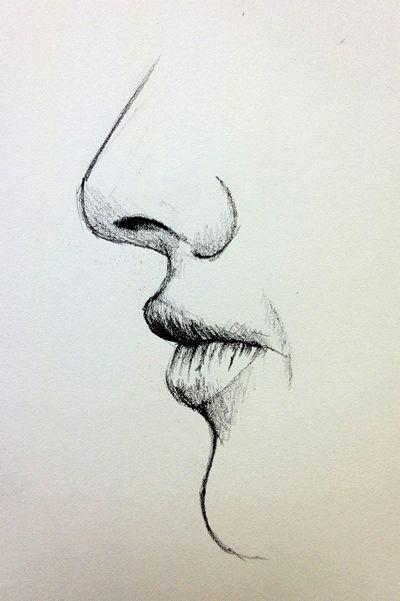closed mouth drawing from side view