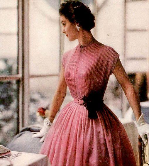 1954 Model in pretty Swiss voile dress by R & K Originals, Vogue
