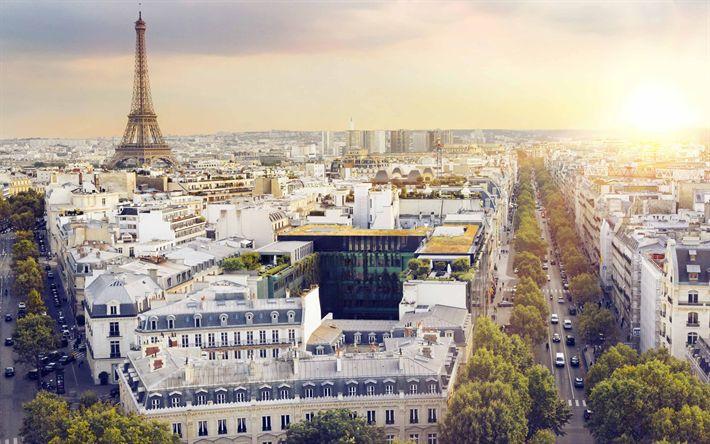 Download wallpapers Paris, evening, cityscape, 4k, France, Eiffel Tower, Parisian streets