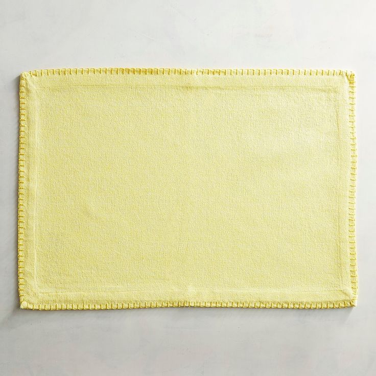 Chambray Yellow Placemat With Blanket Stitching