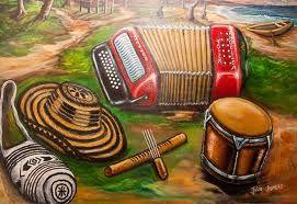 Sombrero vueltiao,  tambor, acordeon, guacharaca, mochila. Colombia