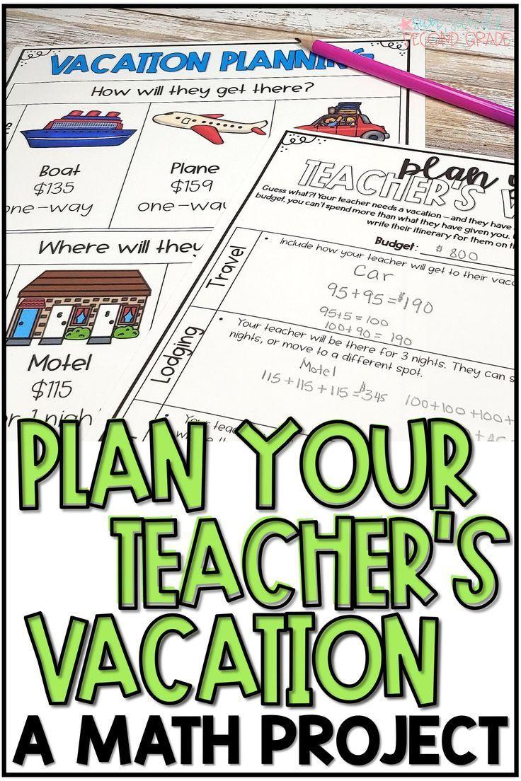 Summer Math Activity End Of Year Math Project Plan A Vacation In 2020 Summer Math Activities Math Projects Third Grade Math Activities