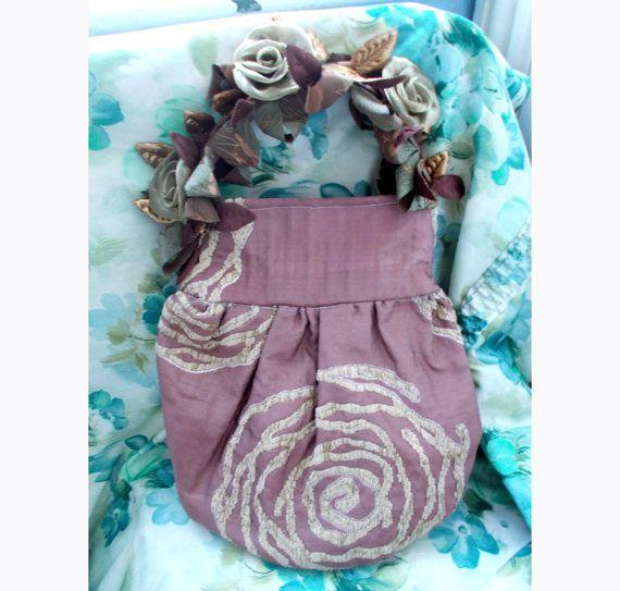 Vintage Peek-A-Boo Dusky-Pink 'Roses' Pretty Hand Bag, Ingenue, Clutch, Gad-About, Evening wear, Flirty, Romanticx
