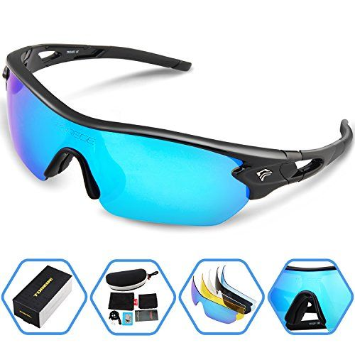Torege Sports Sunglasses Polarized Glasses for Cycling Running Fishing Golf TRG002 (Black&Ice blue lens)