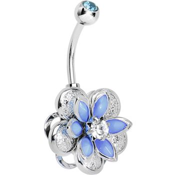 Blue Clear Gem Bursting Blossom Flower Belly Ring #BodyCandy #BellyRings #Trending