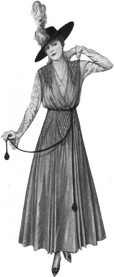 """Woman's Home Companion, January 1916. Honeycomb smocking is the main feature on this surplice-front smock. I prefer jumpers (fitted or semi-fitted sleeveless dresses) for office wear as the shirt you wear beneath it fills the """"dress shield"""" function, leaving the dress fresh for multiple wearings and allowing you to vary the look by the type of shirt and sweater or jacket you wear on top.  I would use applique or border prints to take the place of the honeycomb smocking."""