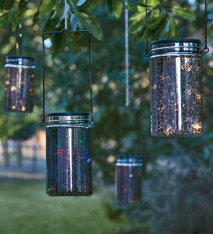 Outdoor Lighting Ideas Solar: Solar Mercury Glass Mason Jar With Color-changing LED