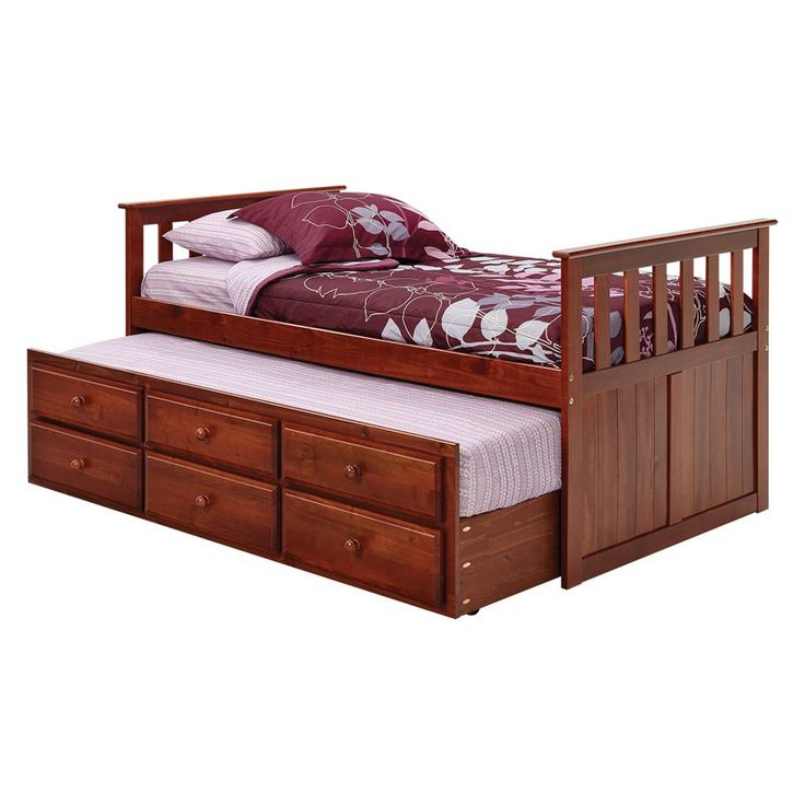 Woodcrest Pine Ridge Mission Captains Bed with Storage Trundle | from hayneedle.com