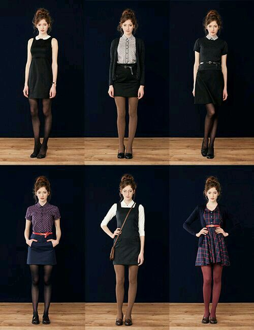 Maybe not with the funky colored tights, but everything else about these looks I love.