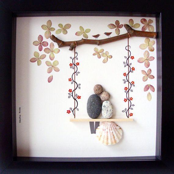 Pebble Art Wedding Gift : ... Gift- Wedding Art- Couples Gift- Love Gift- Pebble Art by MedhaRode on