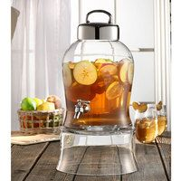 1.6 Gallon Bell Jar Glass Beverage Dispenser with Glass Stand
