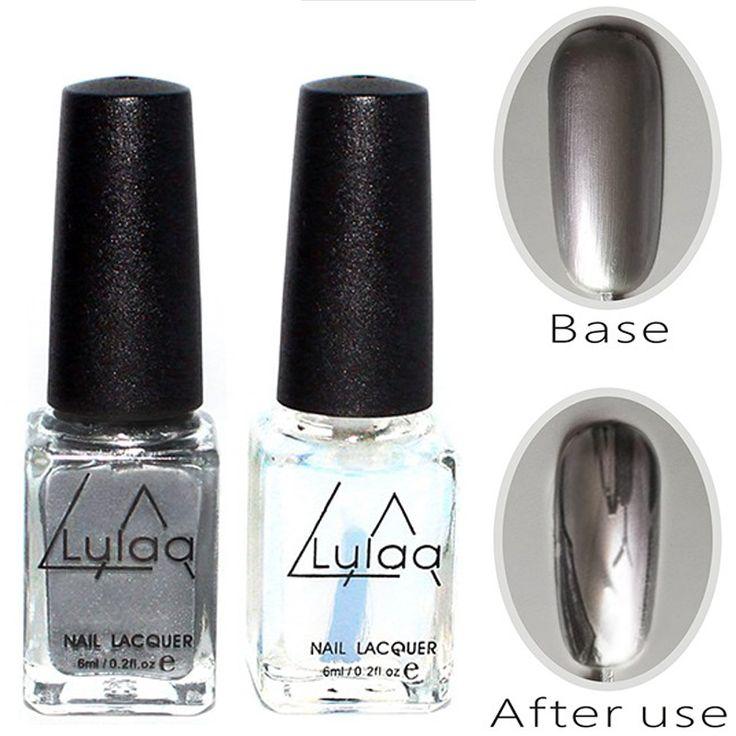 2pc Silver Mirror Effect fashion Metal Nail Polish Varnish Top Coat Metallic Nails Art Tips nail polish set AS143