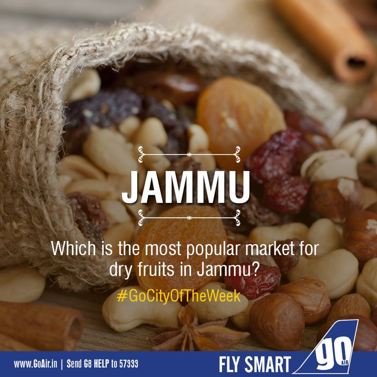 Can you tell us the most popular market for dry fruits in Jammu? Now fly smart daily to Jammu from Delhi and Srinagar. Click here to book now – www.GoAir.in #GoCityOfTheWeek #GoAir