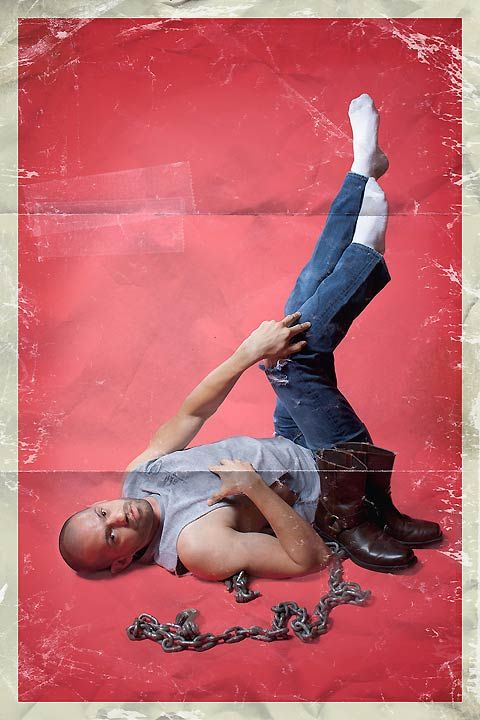 'Men-ups'  Men photographed in stereotypical pin-up poses by Rion Sabean