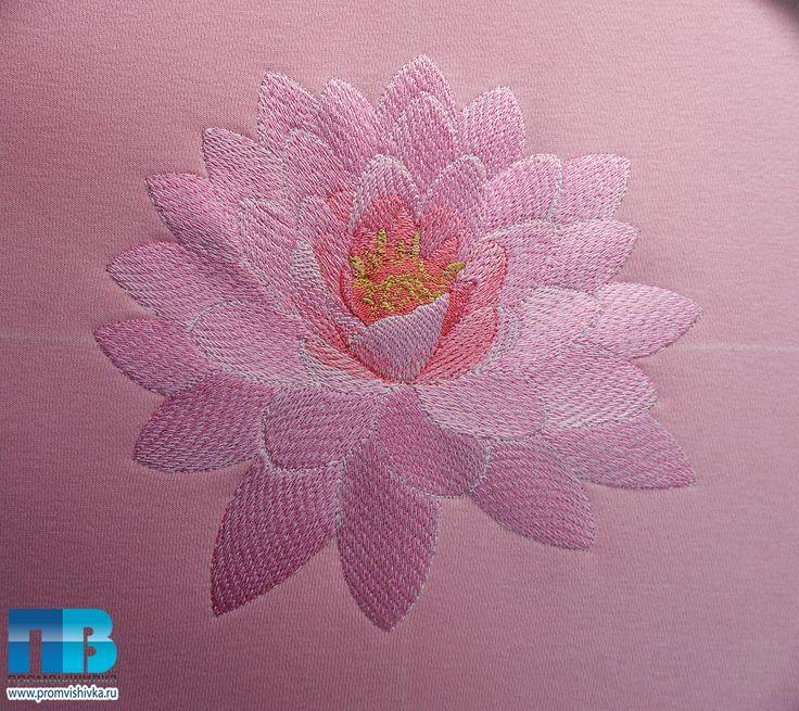 Вышивка лотоса на розовом свитшоте #embroidery #lotus #flowers