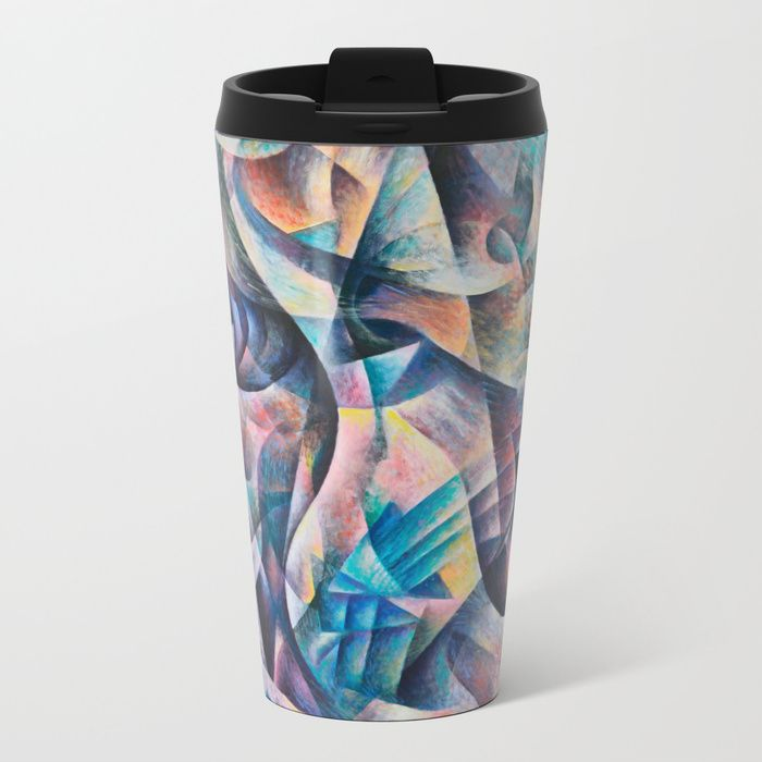 Metal Travel Mug. Design based on an oil painting by Monique Rebelle. Talk about steely good looks. Stainless steel Mugs feature wraparound design and are double-walled to keep drinks hot (or cold). They're pretty much indestructible, fit in almost any size cup holder, and look so much cooler than a Thermos. Lightweight stainless steel construction. Wraparound artwork. Double-walled to keep drinks hot or cold. Snap-on lid to minimize spills. #mug #travelmug #coffee #travelmugthermal