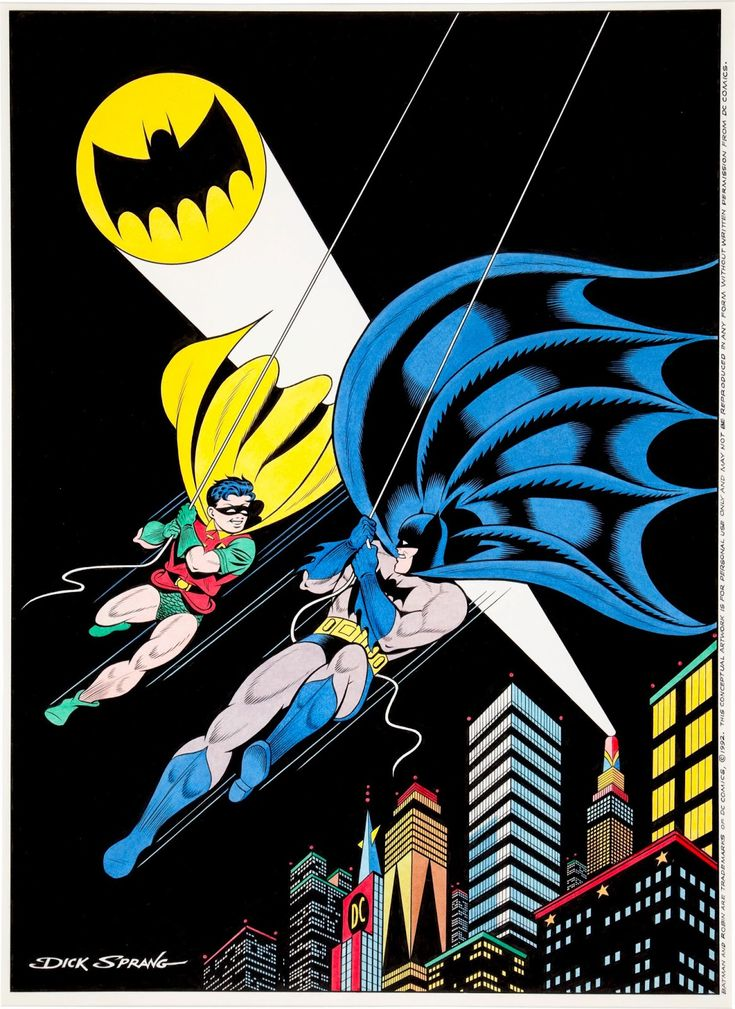 """Iconic Batman and Robin recreation by Dick Sprang. He was known as """"the good Batman artist"""" before fans knew his name."""
