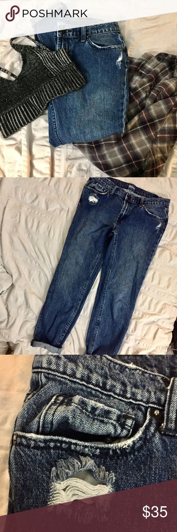 BDG slim boyfriend jeans in deep indigo BDG slim boyfriend jeans in deep indigo. Purchased at Urban Outfitters. 27 but the waist runs large, as to be expected from boyfriend jeans. Like new condition! Very cute for many looks from basic casual, to grunge, or even a boho feel. Feel free to make an offer! 💙✨ Urban Outfitters Jeans Boyfriend