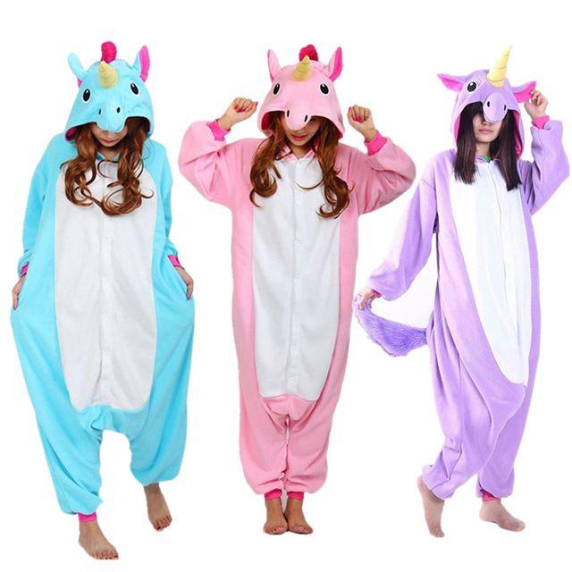 76d1c7eaef Nuevo Animal Cosplay Traje Adulto Azul Rosa Púrpura Unicornio Pijamas  Pijamas Pijamas Unisex Onesies Pijama de Dibujos Animados