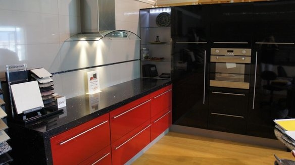 "Modern kitchen display:  144″ × 99″ kitchen cabinets: red base cabinets & black pantries  36"" Cavaliere glass range hood  24"" wall oven  galaxy black quartz countertop  US made cabinets and designed by Bauformat USA  http://www.bauformatusa.com $5,999 Best offer"