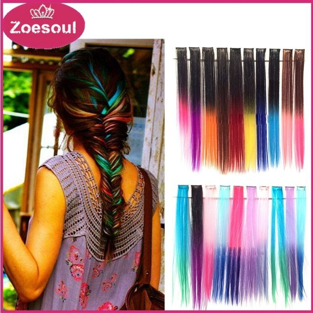 Clip In Hair Extensions Synthetic Ombre Hair Extensions 20inches 50cm Straight Gradient Hairpiece Free Shipping,high quality and more cheaper price,baeuty wemen be the first choice