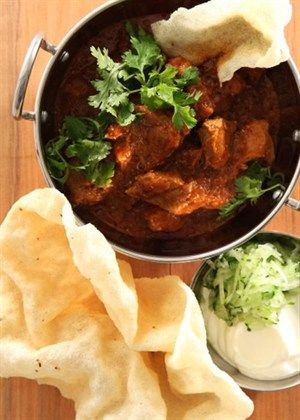 Cape curry with sambals and poppadums