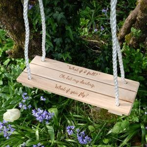 Personalised Classic Wooden Swing - Give a Christening gift that shows they are truly cherished. Thoughtful and original, lots of the products can be personalised as they are created by talented independent designers or small creative businesses.
