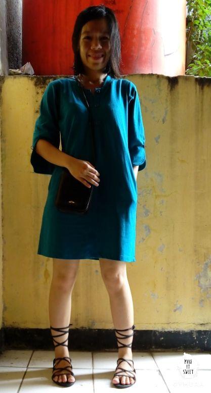 #Cotton #mini #dress #blue #gladiator #sandals #little #black #bag