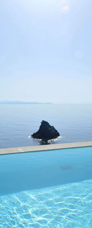 Oops! The painter must have missed a spot! :p -View to Agia Pelagia's blue waters in Crete-