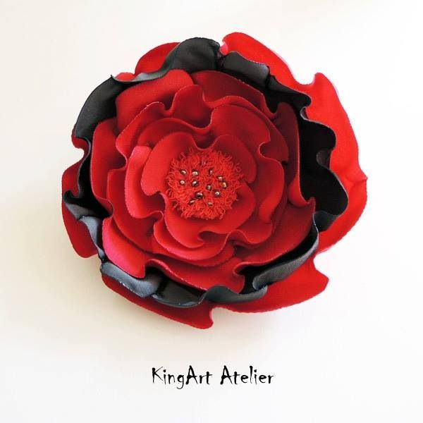Red-gray handmade flower brooch by KingArt Atelier