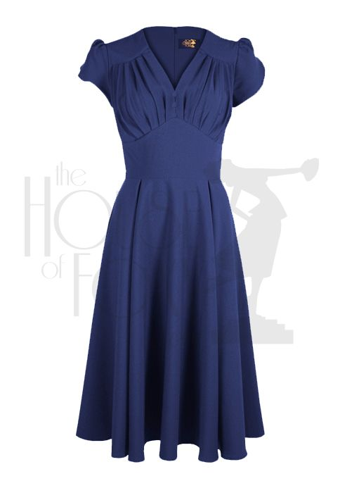 So Foxy 1940s inspired Retro Dress in French Navy
