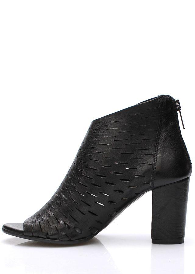 Černé italské kožené boty na podpatku V&C(57438) - 4