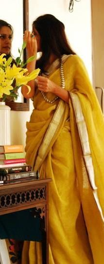 Handwoven Linen Saree by Anavila Misra