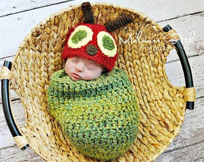 Bebé niño sombrero bebé recién NACIDO niño Crochet Knit Hat oruga y capullo fotos Prop