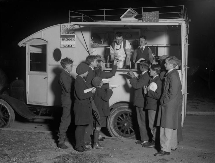 A mobile fish and chip van at Morden, October 1930.