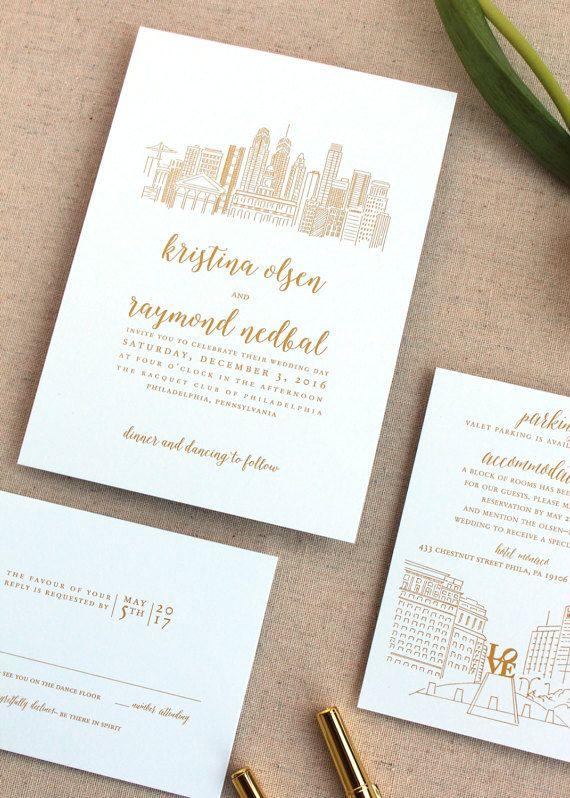 SAMPLE SET Kristen Skyline Wedding Invitation Set by FleurishInk
