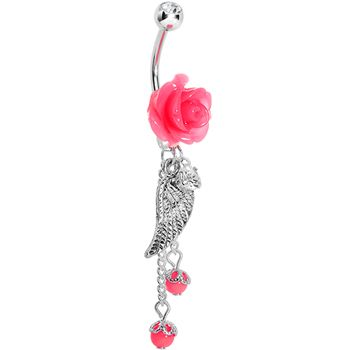 Pink Neon Rose Angel Wing Dangle Belly Ring | Body Candy Body Jewelry