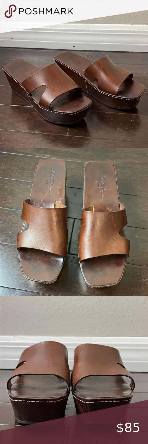 Robert Clergerie Leather Platform Wedge Sandals Great condition 1.5 platform, 2.5 wedge heel Robert Clergerie Shoes Sandals