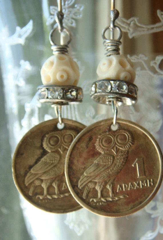 Vintage 1973 Owl Coin Greek Drachma Earrings by CobwebPalace, $30.00