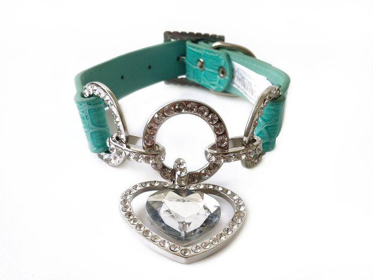 Tiffany Blue Leather Dog Collar
