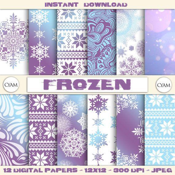 SALE! Purple Blue FROZEN Scrapbooking Digital Paper: Instant Download. Purple Blue FROZEN background. Buy 2 get 1 Free