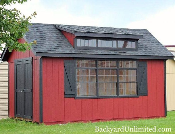 10'x16' Grandview Shed with Transom Windows http://www.backyardunlimited.com/custom-storage-sheds