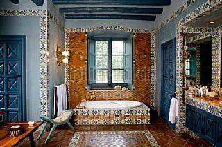 Rustical master bathroom in  Sant Andreu de Llavaneres Mansion, Spain