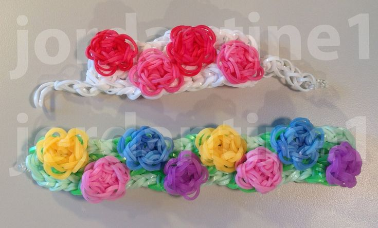 New Wide Flower Sculpture Bracelet - Advanced - Rainbow Loom, Wonder Loom, Crazy Loom, Bandaloom