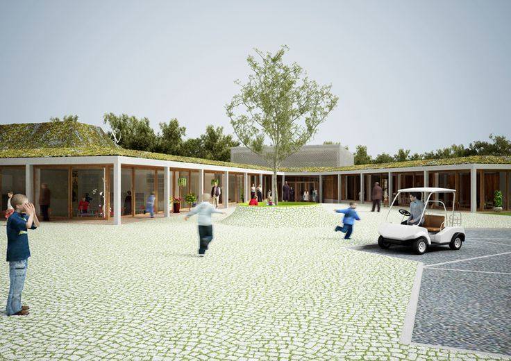 NL architects: school in knokke heist | Permeable grassed pavers