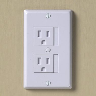 Baby proof outlet covers - just slide over to use, and closes automatically when you unplug. Also helps keep dust, cold and heat out.