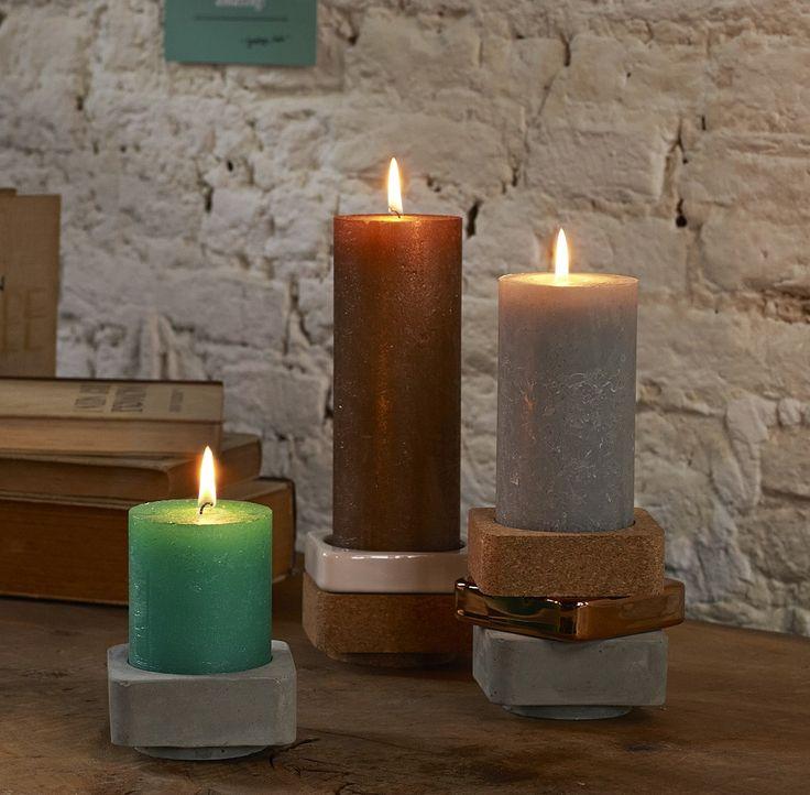 Rustic Kerzen und stapelbare Halter von Bolsius - beim Kerzenprofi