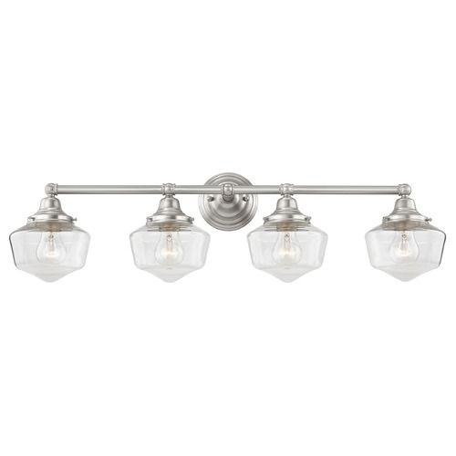 Clear Glass Schoolhouse Bathroom Light Satin Nickel 4 Light 31.625 Inch Length | WC4-09 GF6-CL | Destination Lighting