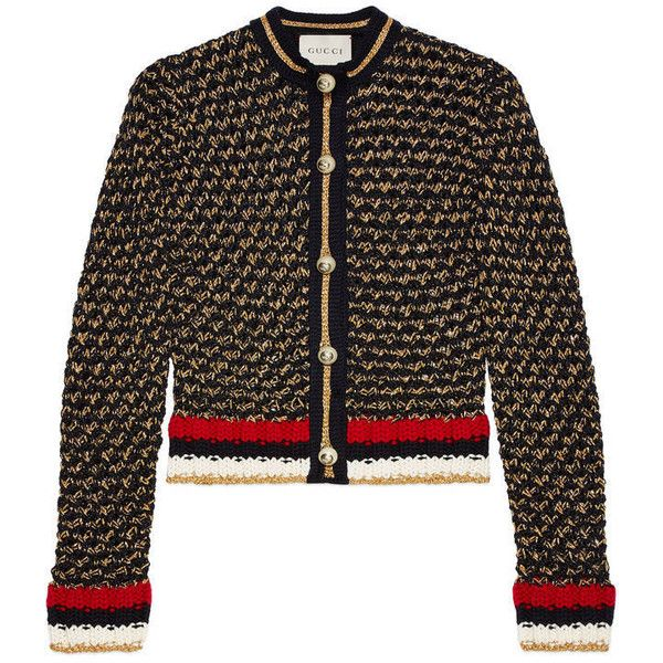 Gucci Lurex Blend Cardigan With Web ($1,300) ❤ liked on Polyvore featuring tops, cardigans, heavy cardigan, three quarter sleeve tops, 3/4 sleeve tops, lurex top and 3/4 length sleeve tops